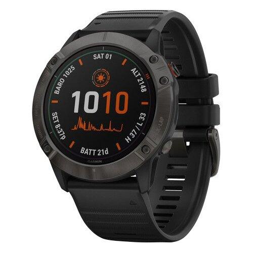 Умные часы Garmin Fenix 6X Pro Solar титановый DLC, серый/черный умные часы garmin fenix 6x pro solar титановый с титановым браслетом серый