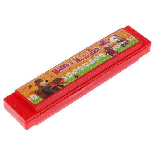 Купить Играем вместе губная гармошка Маша и медведь B1717107-R красный, Детские музыкальные инструменты
