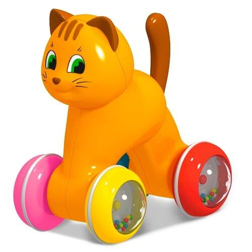 Каталка-игрушка Stellar Котик (01931) оранжевый/синий/красный/желтый/ розовый