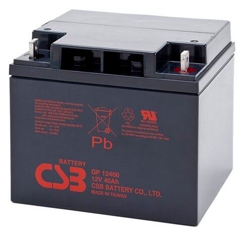 Аккумулятор CSB GP-12400 (12В, 40Ач / 12V, 40Ah / вывод под гайку и болт М5)