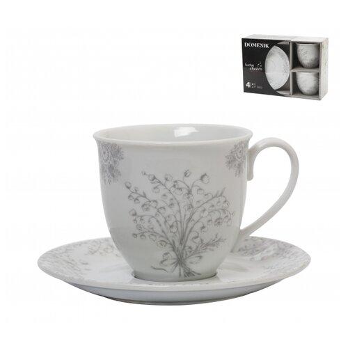 Domenik Чайный набор Lucky Charm 250 мл 4 предмета белый / серый чайный набор best home porcelain восточная сказка olympia 4 предмета