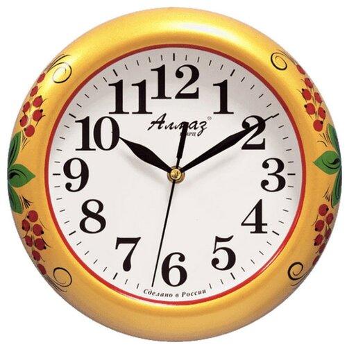Часы настенные кварцевые Алмаз P12 золотистый/белый часы настенные кварцевые алмаз p12 золотистый белый