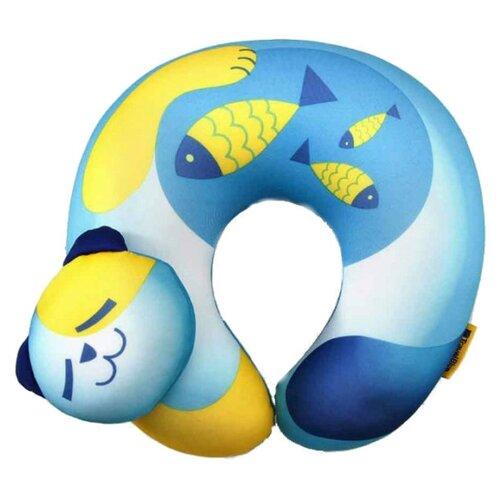 Подушка для шеи Travel Blue Fun Pillow - Cat, голубой/желтый подушка для путешествий travel blue tranquility pillow с эффектом памяти цвет фиолетовый 28 х 27 х 12 см