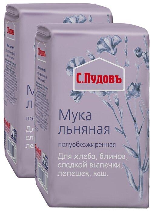 Мука С.Пудовъ льняная полуобезжиренная, 2 шт, 0.4 кг