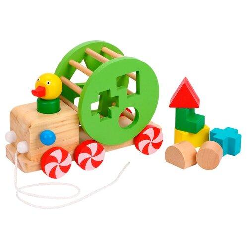 Купить Каталка-игрушка Mapacha Утенок (76776) бежевый/зеленый/красный, Каталки и качалки