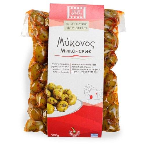 Оливки зелёные Миконские с ароматом красного острого соуса из перца и чеснока Just Greece вакуумный пакет 500 г