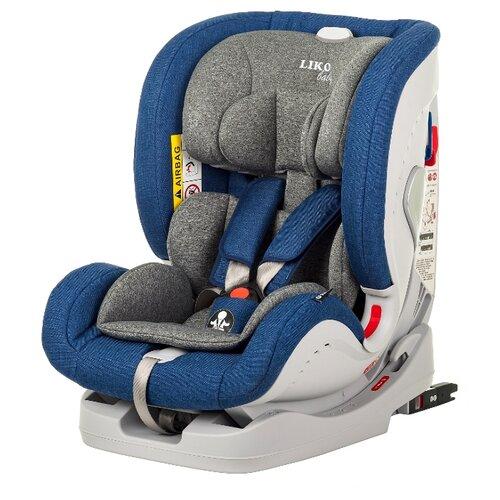 Автокресло группа 0/1/2/3 (до 36 кг) Liko Baby Sprinter Isofit (Isofix), джинсовый/лен автокресло группа 1 2 3 9 36 кг little car ally с перфорацией черный