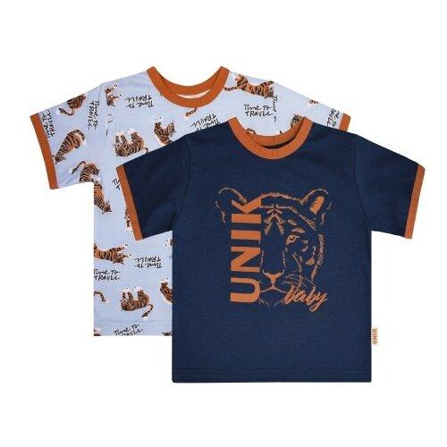 Футболка UNIK размер 80, темно-синий/голубой футболка для мальчика batik цвет темно синий голубой ds0173 10 11 размер 110