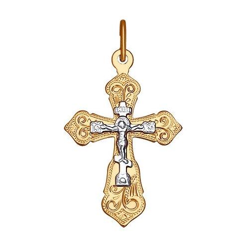 SOKOLOV Крест из комбинированного золота с гравировкой 121224