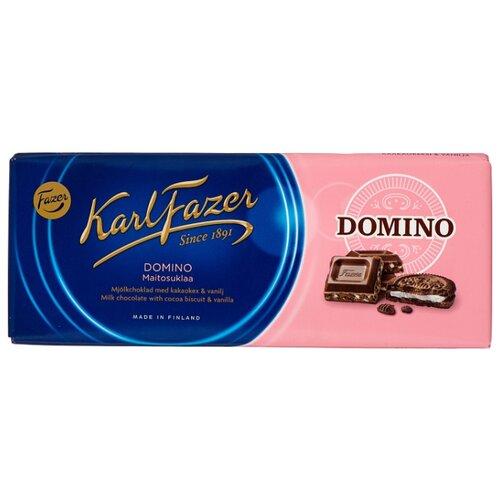 Шоколад Fazer молочный Domino с печеньем из какао и крошкой со вкусом ванили 30% какао, 195 г karl fazer молочный шоколад с крошкой соленой карамели 200 г