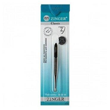 Пинцет ZINGER рифленый скошенный для бровей B-162-S/12902