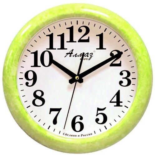 Часы настенные кварцевые Алмаз H26-H29 зеленый/белый