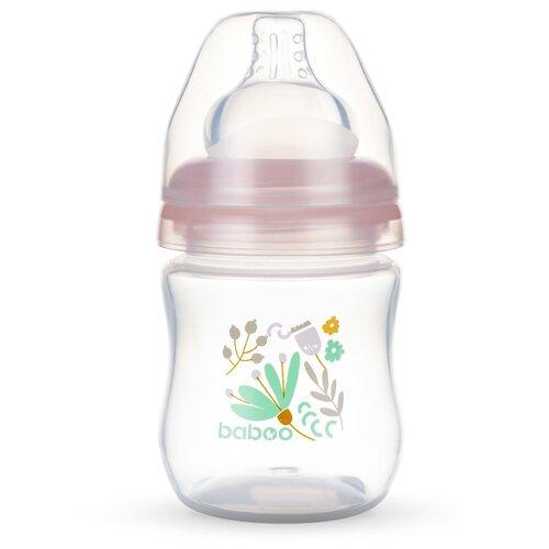 Фото - Baboo Бутылочка с широким горлом и силиконовой соской 130 мл. с рождения, flora поильник baboo flora 8 104 розовый