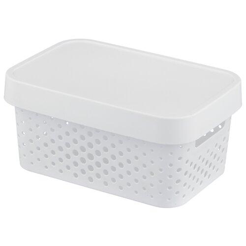 CURVER Коробка с крышкой Infinity 12,5x17,5x26см белый laundry basket curver infinity 59 l gray