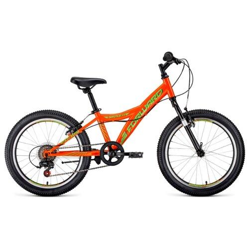 Подростковый горный (MTB) велосипед FORWARD Dakota 20 1.0 (2020) оранжевый/салатовый 10.5 (требует финальной сборки) подростковый горный mtb велосипед forward dakota 24 1 0 2020 черный 13 требует финальной сборки