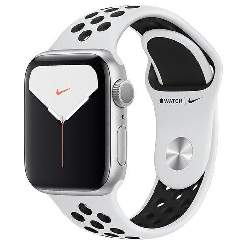 Умные часы Apple Watch Series 5 GPS + Cellular 40мм Aluminum Case with Nike Sport Band, серебристый/чистая платина/черный