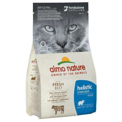 Сухой корм для стерилизованных кошек Almo Nature Holistic, с говядиной, с рисом 400 г