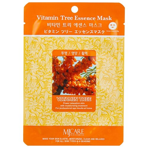 MIJIN Cosmetics тканевая маска Vitamin Tree Essence с облепихой, 23 г маска тканевая для лица mijin cosmetics platinum essence mask 23 г