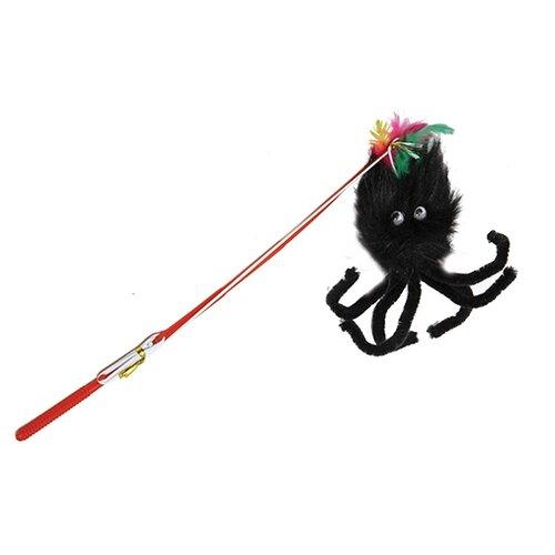 Дразнилка для кошек КАСКАД Удочка с пауком (27754648) черный/красный