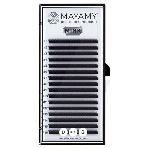 Innovator Cosmetics Ресницы MAYAMY MINK 16 линий 8 мм D-изгиб 0.05 мм черный i beauty ресницы premium mink 16 линий 12 мм с изгиб 0 20 мм черный