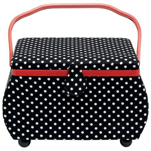 Купить Шкатулка Prym для рукоделия Polka Dots 32х20.5х20 см черный/белый, Шкатулки для рукоделия