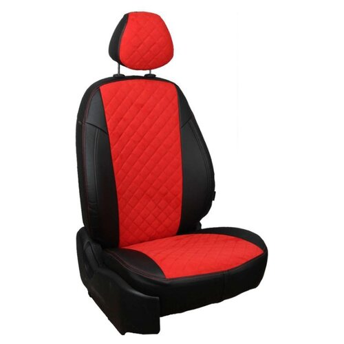 Комплект чехлов АВТОПИЛОТ из алькантары Volkswagen Polo 5, ромб черный/красный