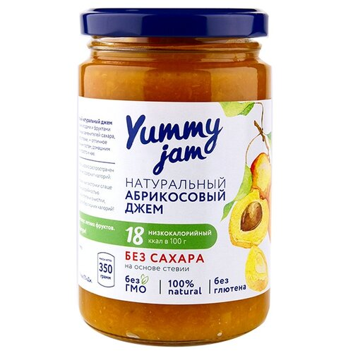 Джем Yummy jam натуральный абрикосовый без сахара, банка 350 г