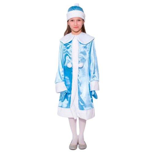 Купить Костюм Бока Снегурочка атлас, голубой/белый, размер 122-134, Карнавальные костюмы