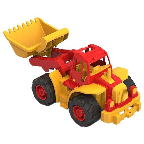 Купить Трактор Нордпласт Богатырь мини с грейдером (299), 50 см, красный / желтый, Машинки и техника