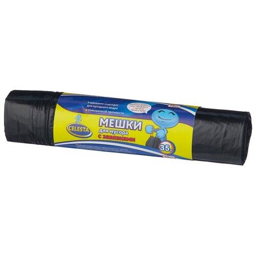 Мешки для мусора Celesta 35 л (10 шт.) черный мешки для мусора celesta с завязками цвет синий 35 л 30 шт