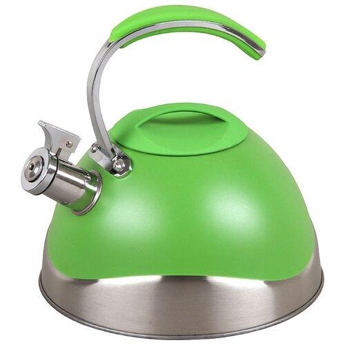 Pomi d'Oro Чайник со свистком PSS-6500/19/20/21 3 л, серебристый/зеленый кастрюля pomi d oro facilita pss 595252 2 5 л стальной