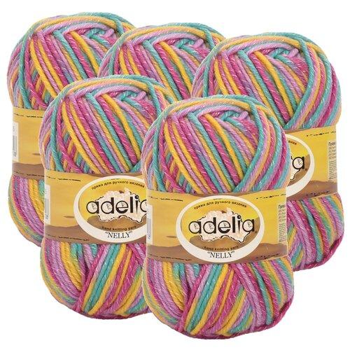Пряжа Adelia Nelly секционного окрашивания, 70 % шерсть, 30 % акрил, 100 г, 100 м, 5 шт., №25 бирюзовый-желтый-сиреневый-розовый  - купить со скидкой