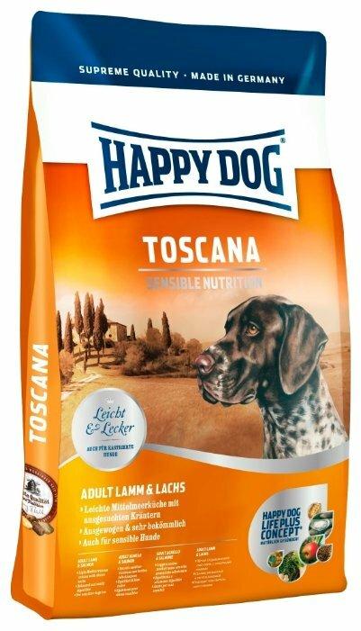 Корм для собак Happy Dog Supreme Sensible Toscana для здоровья кожи и шерсти, ягненок, лосось 1 кг