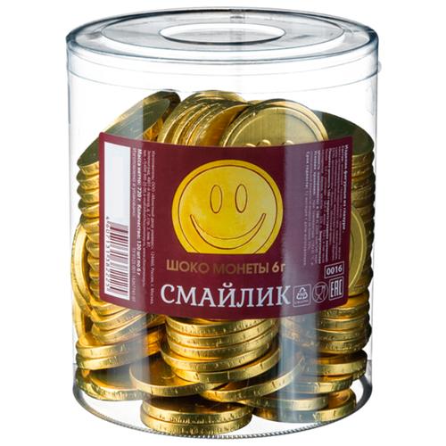 Фигурный шоколад Монетный двор Шоко монеты Смайлик, молочный шоколад, банка (120 шт.) монетный двор сердечки набор молочный шоколад 75 г
