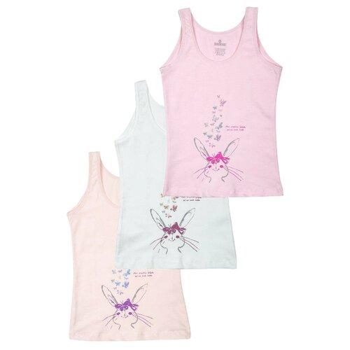 Купить Майка BAYKAR 3 шт., размер 122/128, белый/розовый/персиковый, Белье и купальники