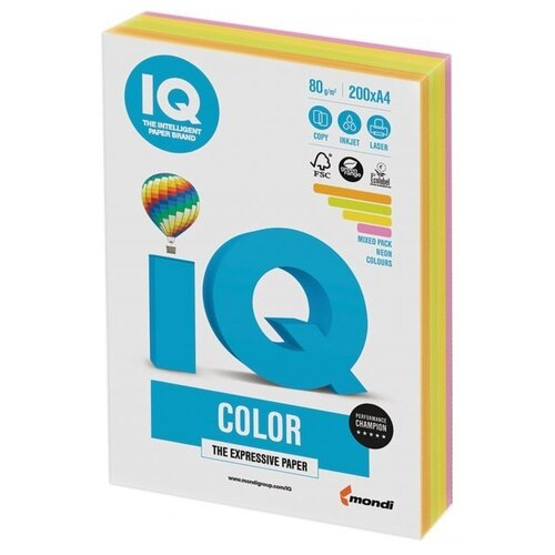 Фото - Бумага IQ Color A4 80 г/м² 200 лист. 1шт. бумага iq color a4 80 г м² 200 лист neon mixed pack 1 шт