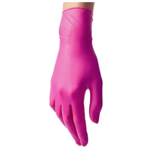 Перчатки Benovy нитриловые одноразовые с текстурой на пальцах, 50 пар, размер XS, цвет ярко-розовый