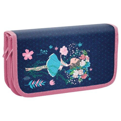 Купить BRAUBERG Пенал Девочка с букетом (228108) синий/розовый, Пеналы