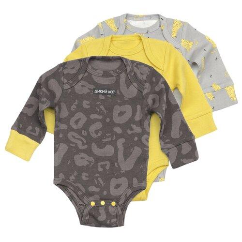 Боди Happy Baby размер 68, желтый/серый/темно-серый