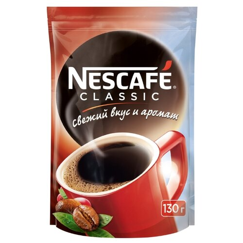 Кофе растворимый Nescafe Classic гранулированный, пакет, 130 г фото