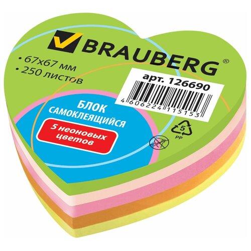 Купить BRAUBERG Блок самоклеящийся Неоновый в форме сердца (126690) разноцветный, Бумага для заметок