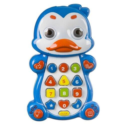 Интерактивная развивающая игрушка Play Smart Детский смартфон Пингвинчик, голубой/белый