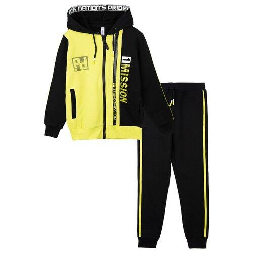 Спортивный костюм playToday размер 116, черный/светло-зеленый