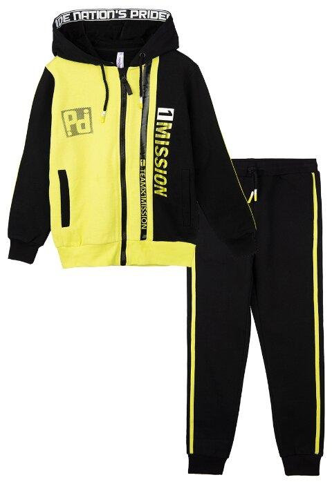 Купить Спортивный костюм playToday размер 110, черный/светло-зеленый по низкой цене с доставкой из Яндекс.Маркета (бывший Беру)
