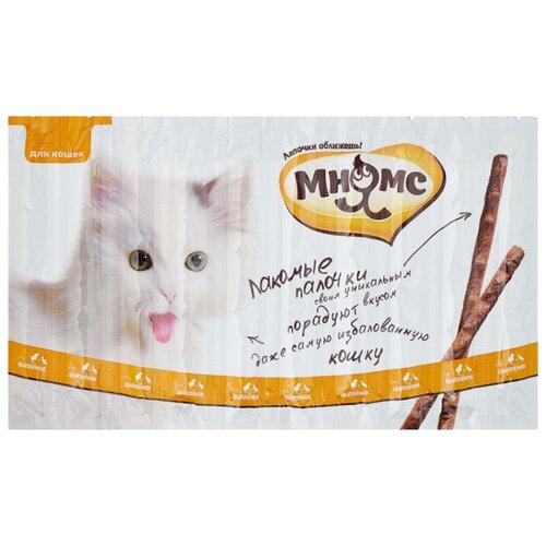 Лакомство для кошек Мнямс Лакомые палочки Цыпленок, утка, 5 г х 10 уп.