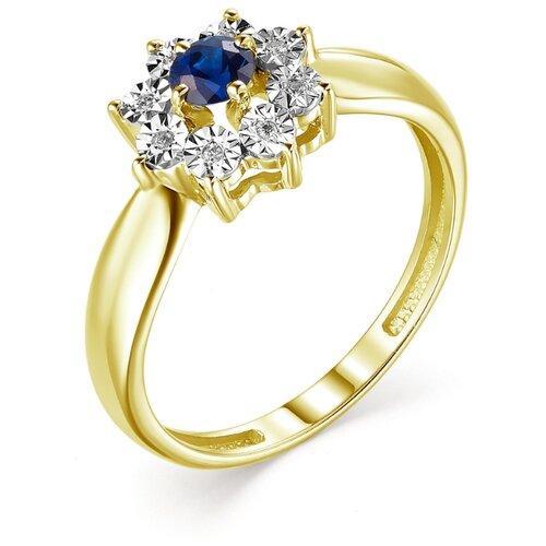 АЛЬКОР Кольцо с сапфиром и бриллиантами из жёлтого золота 13224-302, размер 17 фото