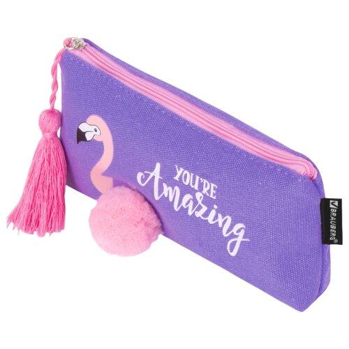 Купить BRAUBERG Пенал-косметичка Flamingo (229001) фиолетовый, Пеналы