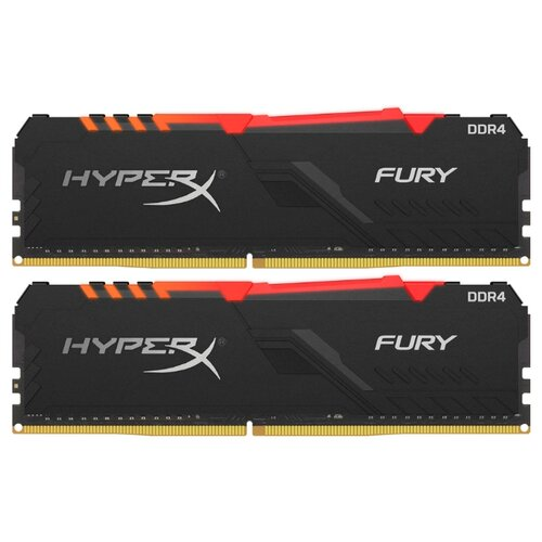 Оперативная память HyperX Fury RGB DDR4 2400 (PC 19200) DIMM 288 pin, 16 ГБ 2 шт. 1.2 В, CL 15, HX424C15FB3AK2/32 оперативная память kingston hyperx fury rgb hx426c16fb3a 16 dimm 16gb ddr4 2666mhz dimm 288 pin pc 21300 cl16