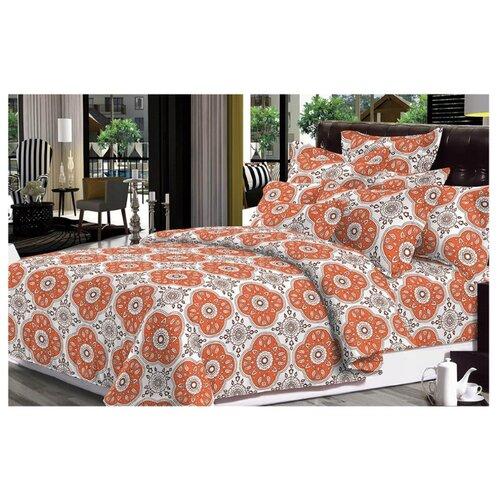 цена Постельное белье 2-спальное с евро простыней Toontex Лацио бязь оранжевый/белый онлайн в 2017 году