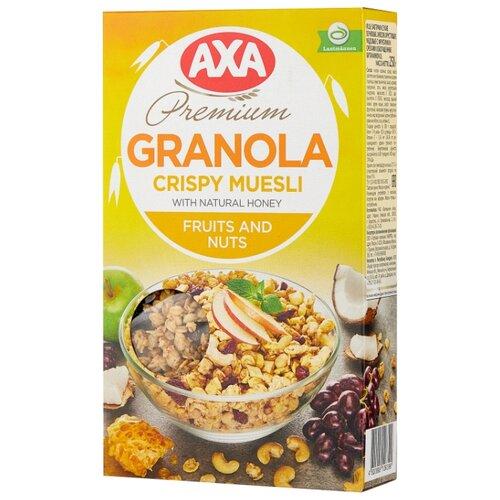 Мюсли AXA хрустящие в меду с фруктами и орехами, коробка, 250 г мюсли axa медовые с фруктами и орехами 250 гр